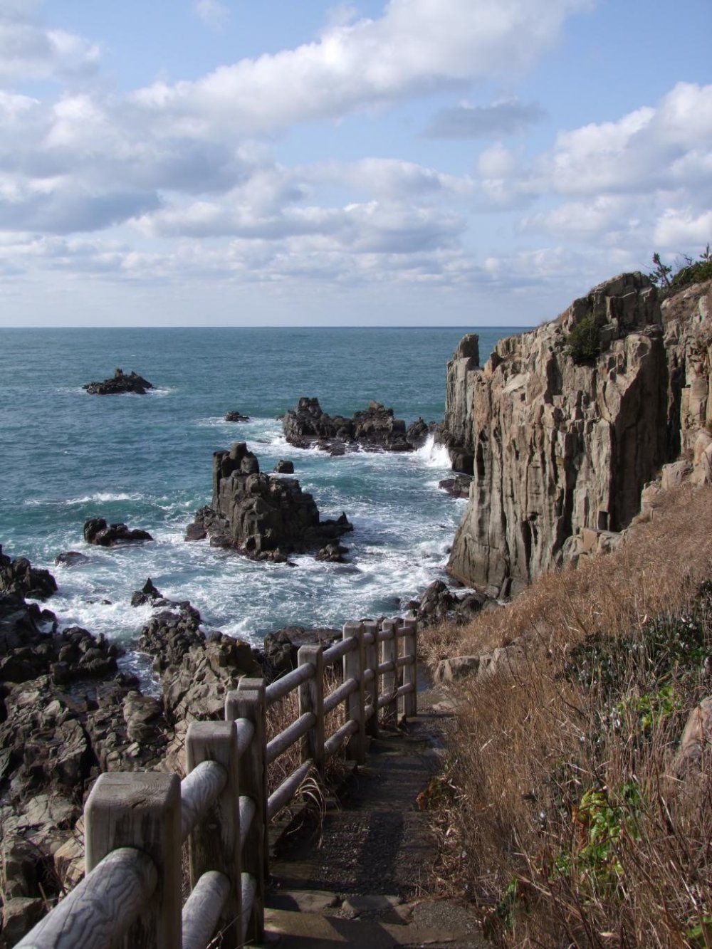 Paths along the cliffs afford wonderful views of the rocks and the sea.