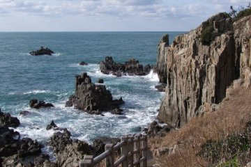 <p>Paths along the cliffs afford wonderful views of the rocks and the sea.</p>