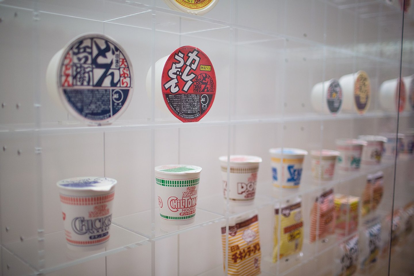 Just some of the many instant noodles on display at Yokohama's Cup Noodles Museum