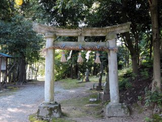 The stone torii gate stands at the entrance of 'Thirty-three Kannon Bosatsu' pilgrimage path in the woods