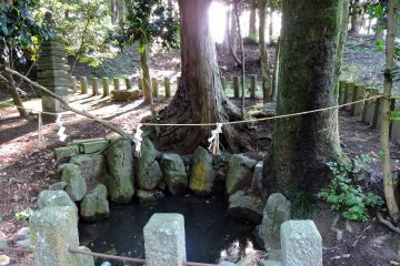 여기 있었네요! 682년에 태어났을 때 아기 타이쵸 대사가 첫 목욕을 한 '산유의 연못' 입니다.진짜?