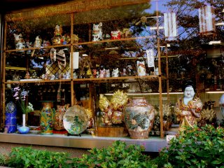 Shop window full of fabulous Kanazawa pottery