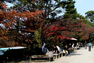 <p>Tourists rest on benches along the path opposite the castle</p>