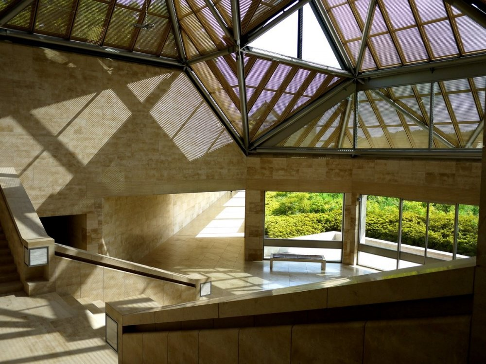 Skylight window frames cast a complex shadow