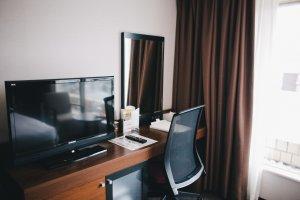 Desk area and television