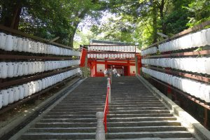 Steep steps leading up to the main shrine