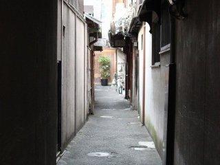 町屋の間の細い路地。京都の町にはこのようなひっそりとした風景がいくつも広がっている