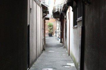 시중의 상가의 골목길. 교토 거리에는 이런 호젓한 풍경이 수없이 퍼져 있다