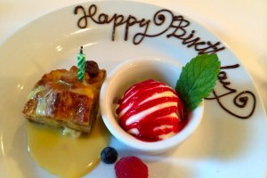 We were celebrating another birthday and Ruth's Chris kindly presented us with a personalized dessert plate!