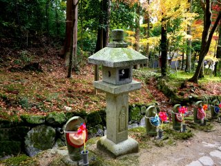 Stone lanterns also stand beside the path