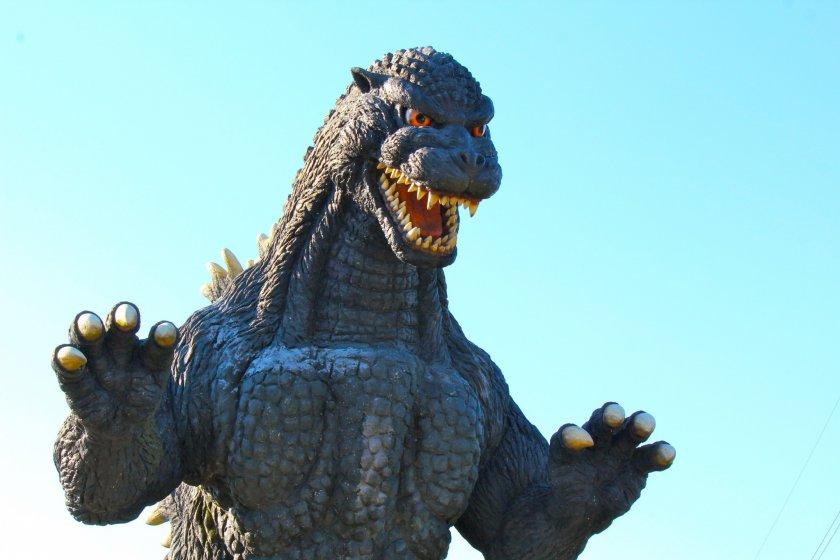 Godzilla Returns to Yokosuka! Erected in 1999 on the hilltop ofKurihamaHana no Kuni.
