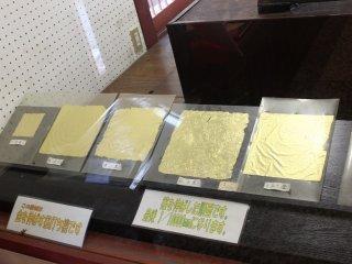 金箔の製造工程の展示