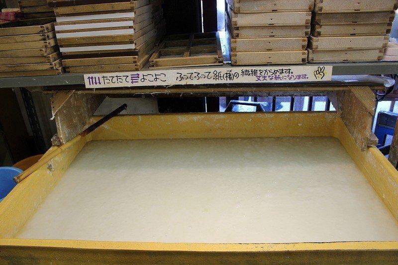コウゾやミツマタなどの和紙の原料が溶けている