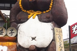 The famous Mashiko giant ceramicTanukipresiding over the stalls in the square