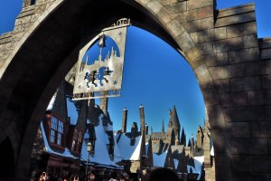 The entrance to the Wizarding World of Harry Potter in USJ
