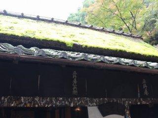 農村の藁葺き家屋群が一の鳥居付近に集まっている。入母屋造り、もしくは片側を入母屋造り、もう片側を切妻造とする片入母屋造りであり、庇(ひさし)は瓦で葺いてある