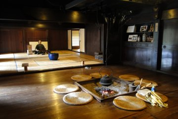 <p>The interior of one of the thatched homes</p>