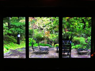 Looking out at the garden through three big windows. I felt like as though I was looking at three paintings.