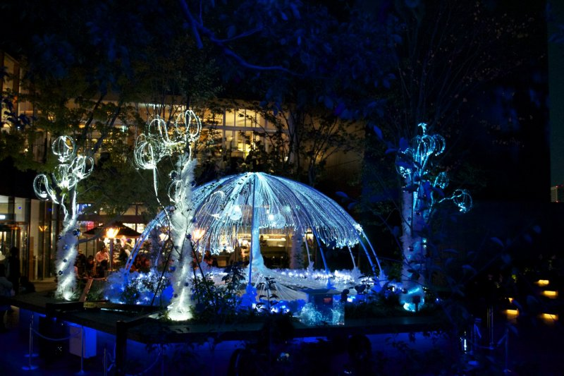 <p>The illuminated fountain that currently decorates the Omohara Forest</p>