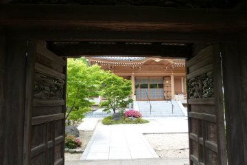 The temple has many beautiful buildings on its grounds.