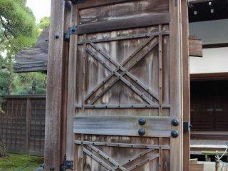 The wooden gates are very stout.