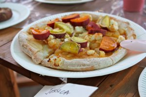 Our homemade pizza consisted of apples, cream cheese bits, caramel syrup, and sweet potato picked from the farm