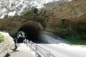 The tunnel runs 185 meters through the mountains