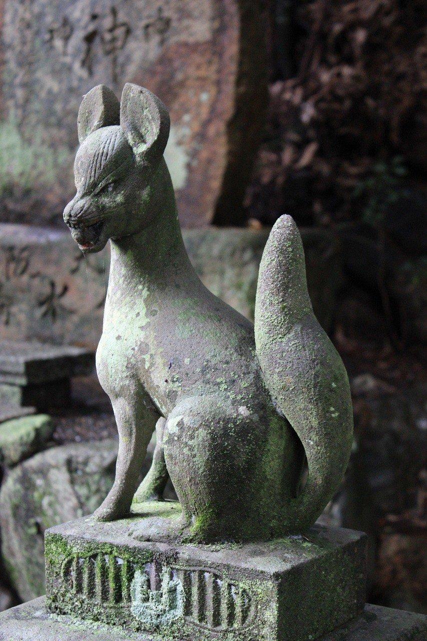 狐の石像が一体祠の中央にある