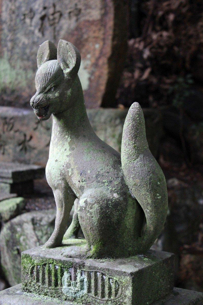 여우의 석상이 사당의 중앙에 있다