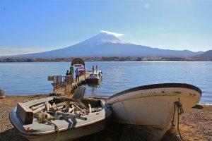 Mt. Fuji as seen from Tozawa Center located at the the northern coast of Lake Kawaguchiko
