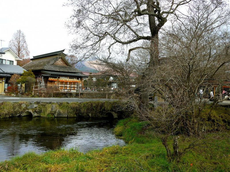 Дома с соломенными крышами, вода и деревья в Осино Хаккай