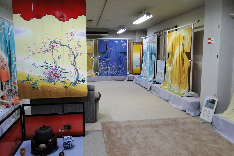 A display of kimono dyed in the Kanazawa yuzen style