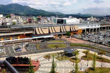<p>View of Fukuchiyama Station and the Locomotive from the hotel room</p>