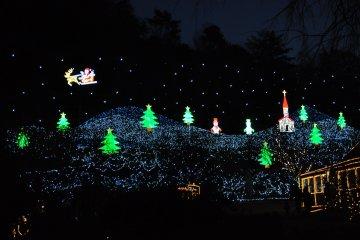 <p>一个满布环保LED的漂亮圣诞景色</p>
