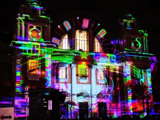 Impressive 3D projection mapping on the wall of Osaka Central Public Hall