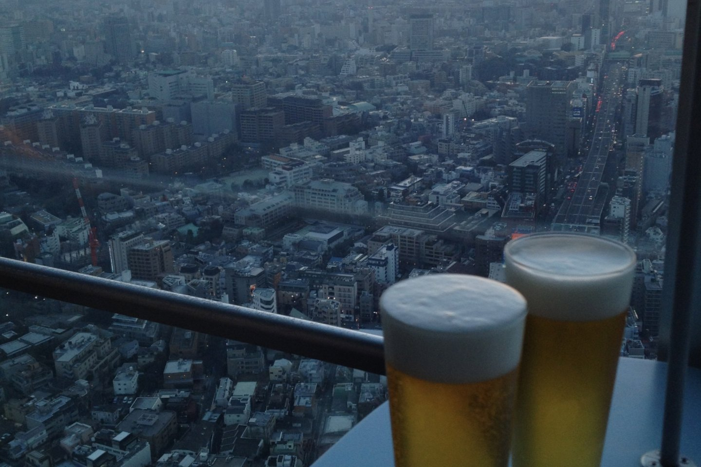 Enjoying a drink or two on the 52nd Floor Observation Deck