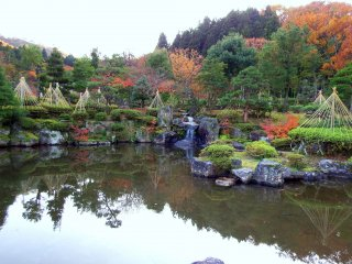 Beautifully landscaped Japanese garden and pond