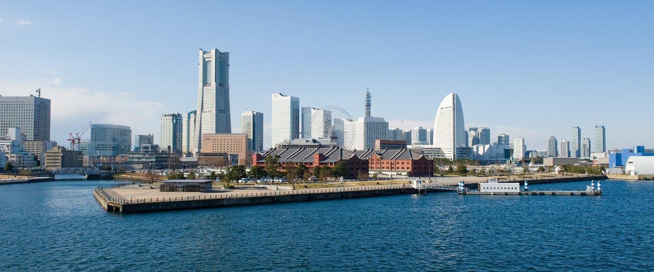 Porto e paisagem de Yokohama