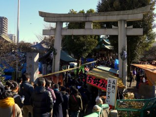 On New Year's day the path to the shrine is crowded