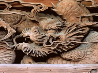 Fabulous dragon carved in wood