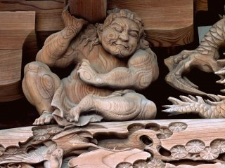 One of the carved strongmen supporting the roof