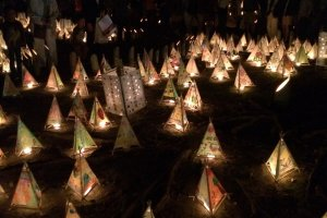 One by one, the lanterns barely produce a glow, but put them together and they create a dynamic display