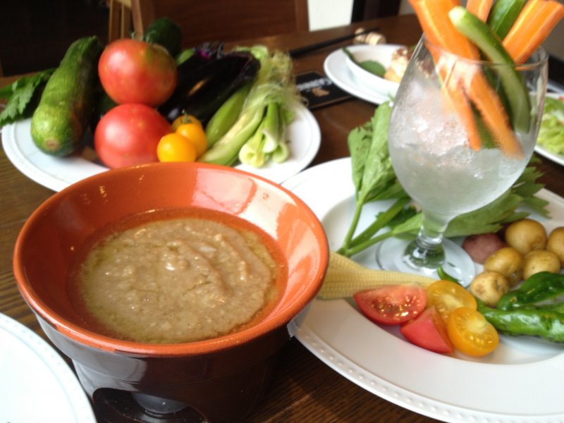<p>Seasonal vegetables are blended together to make this exquisite bagna cauda (dip made from garlic, anchovies and oil).</p>