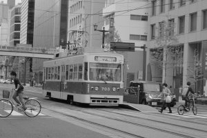 I really shot this picture in black-and-white, hoping I can accurately capture the charm of Hiroshima's street cars.
