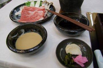 <p>Marbled kogen beef, shabu-shabu style</p>