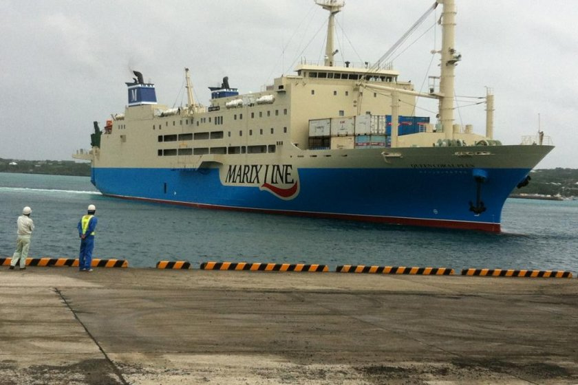 A Marix Line ferry arrives at Yoron\'s port