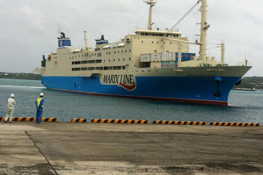 A Marix Line ferry arrives at Yoron\'s port