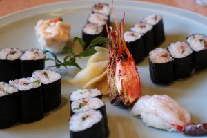 Selection of maki sushi and sweet shrimp