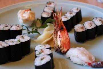 <p>Selection of maki sushi and sweet shrimp</p>