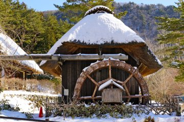 <p>Buckwheat, wheat, or rice, can be grounded here at this Water-mill</p>